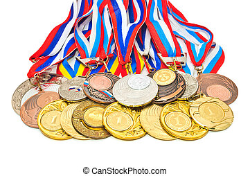 Sports Medal of the Russian Federation Isolated on white...
