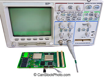 Oscilloscope and the board on a white background - Workplace...