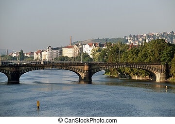 Prague - Vltava River, bridges and Smichov Quarter