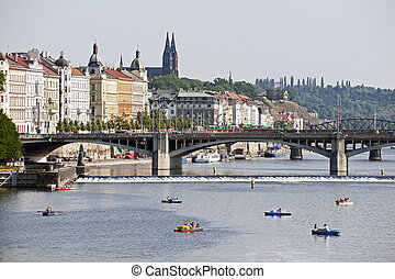 Prague - Vltava River, bridges and Vysehrad