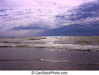 beach and sea in summer in crotoy France