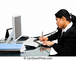Very busy secretary - The secretary is receiving call from...