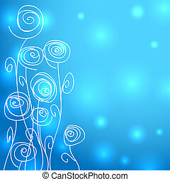 Abstract flowers over blue background with lights -...