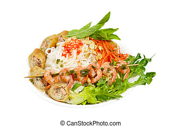 Egg roll Noodle - Rice noodle with grilled shrimp on bamboo...