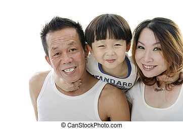 Asian family - Close up Asian family on white background