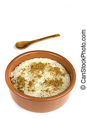 rice with milk - homemade rice with milk and cinnamon in a...