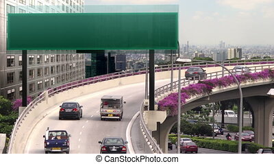 high tech traffic signboard - A flyover with empty high tech...