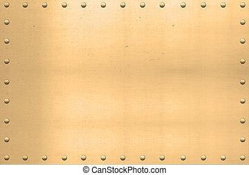 Vintage Gold Sheet, Riveted Edges - Vintage gold plated...