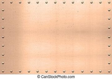 Vintage Copper Sheet, Riveted Edges - Vintage copper plated...