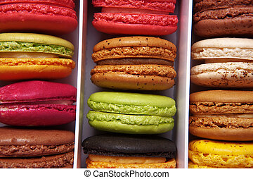 macaroons - shot taken from above of a box full of macaron...