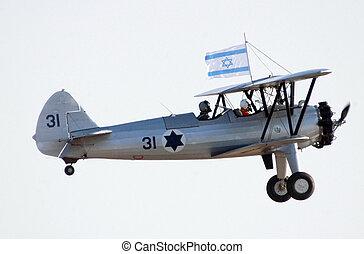 Israel Air Force - Air Show - An Avia BH-21 plane shows off...
