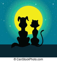 Cat and Dog - Silhouette illustration of a dog and cat...