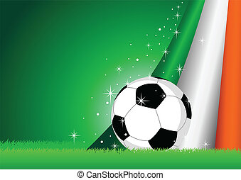 Irish Flag and Soccer Ball - Vector illustration of a soccer...