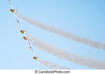 Israel Air Force - Air Show - Four Fouga Magister planes are...