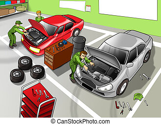 Automobile Repair Shop - Cartoon illustration of automobile...