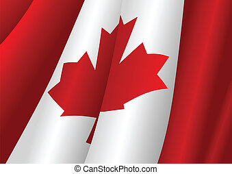 Waving Flag - Vector illustration of Canadian flag
