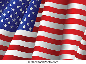 Waving Flag - Vector illustration of American flag