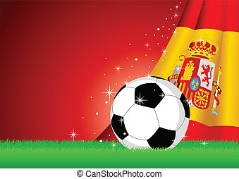 Spain Flag and Soccer Ball - Vector illustration of a soccer...