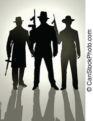 Gangsters - Silhouette illustration of gangsters