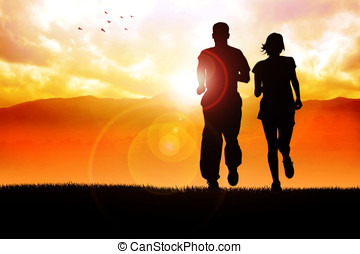 Morning Jogging - Silhouette illustration of couples jogging...