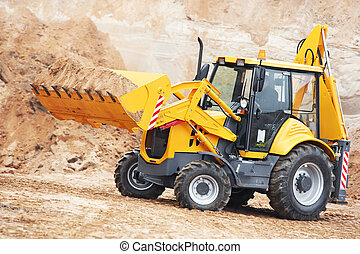 Excavator Loader at earth moving works - Wheel loader...
