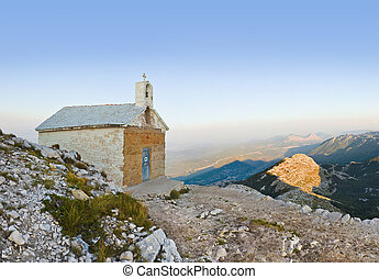 Old church in mountains at Biokovo, Croatia