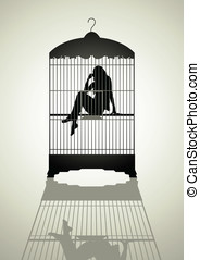 Exploitation - Silhouette illustration of a woman in the...