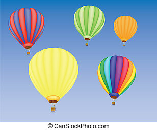 hot air ballons in a sky - five hot air ballons in a sky...
