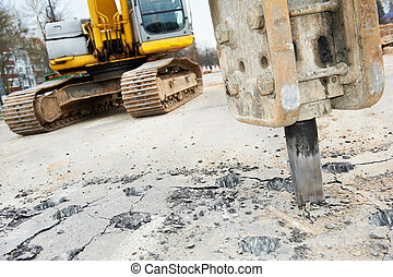 Asphalt Road repairing works with hydrohammer - Excavator...