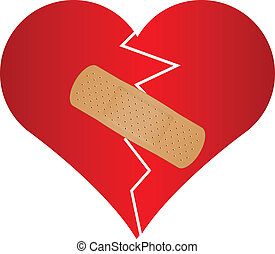broken heart with plaster - Vector illustration of broken...