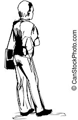 fellow costs with a bag on the left shoulder - a sketch a...