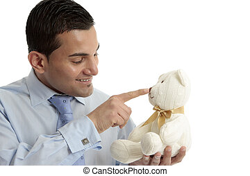 Man with teddy bear - Smiling businessman or salesman...