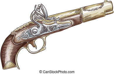 French flintlock antique pistol (late 18th - early 19th...