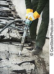 asfalto, camino, reparación, trabaja, martillo...