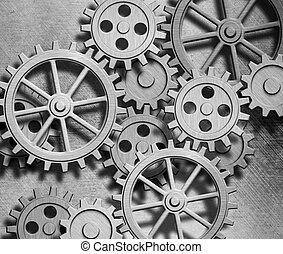 clockwork gears metal background