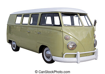 Volkswagen Van - A restored Volkswagen Van isolated on White