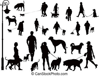 People with dogs - People walking with dogs. Black and white...