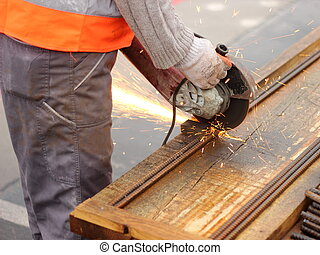 Angle grinder in action