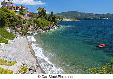 Scenic beach in Greece - Scenic beach of Neos Marmaras at...