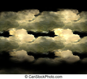 Stratus clouds of heavy black on the decorative background