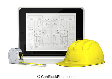 real estate and computer - one tablet pc with a blueprint on...