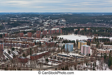 view from the tower to the northern city of Jyväskylä,...