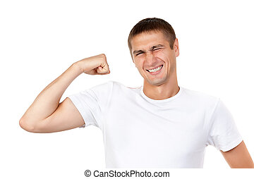 Lean muscle man shows his hand - Portrait of young handsome...