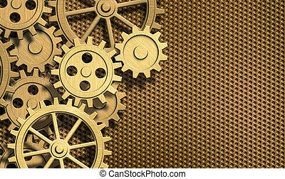 golden clockwork gears background