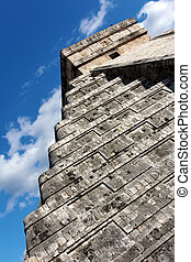 Angled View of Kukulkan Pyramid at Chichen Itza - Angled...
