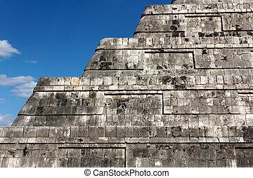 Detail of the steps of the Mayan pyramid of Kukulkan at...