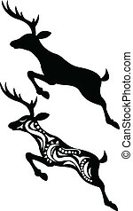 Deer Jumping Silhouette - Vector Illustration Of Deer...