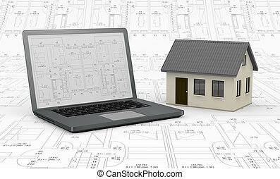 real estate and computer - one computer with a blueprint on...