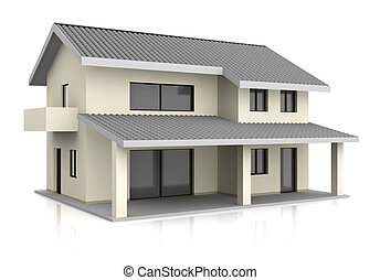 house - one beautiful house with two floors (3d render)