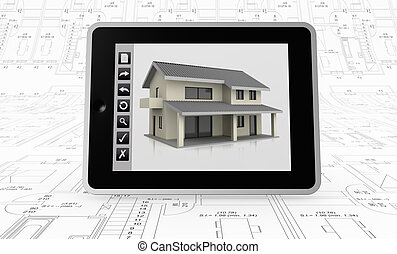 real estate and computer - one tablet pc with a house on the...
